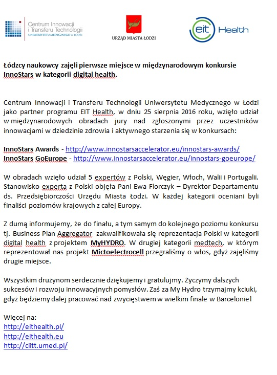 Łódzcy naukowcy zajęli pierwsze miejsce w międzynarodowym konkursie InnoStars w kategorii digital health.